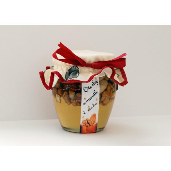 Ořechy a mandle v medu - 400 g, Med  600 g - MAXI MEDMORAVIA