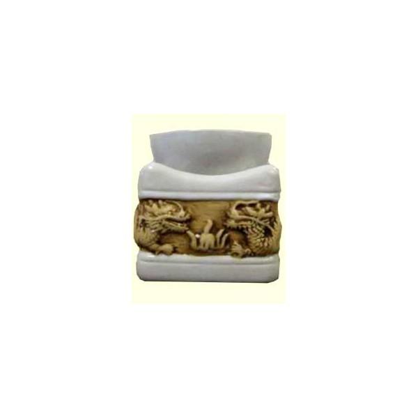 AROMATIKA aroma lampa bílý čtverec basreliéf Drak Aromatika