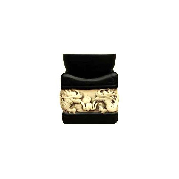 AROMATIKA aroma lampa černý čtverec basreliéf Drak Aromatika