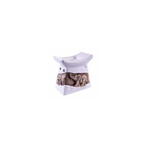 AROMATIKA aroma lampa bílá basreliéf Slon Aromatika
