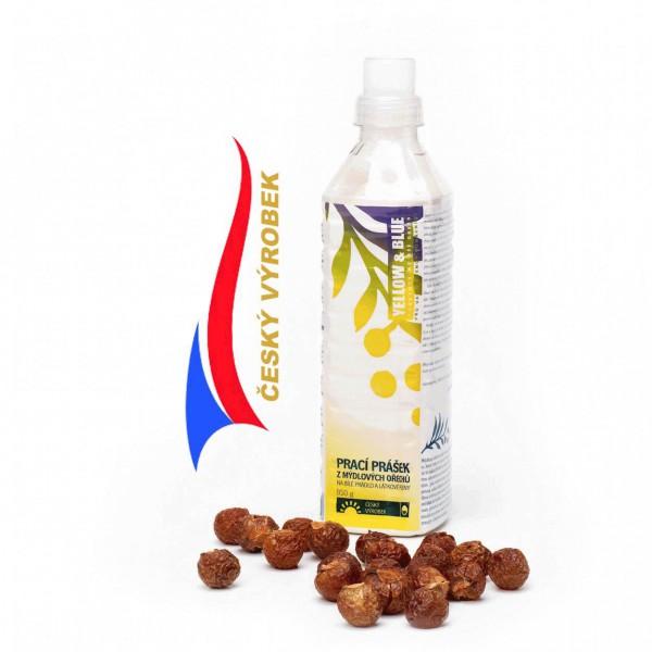 Fotografie Yellow & Blue prací prášek z mýdlových ořechů na bílé prádlo a pleny , Hmotnost: 250 g TIERRA VERDE
