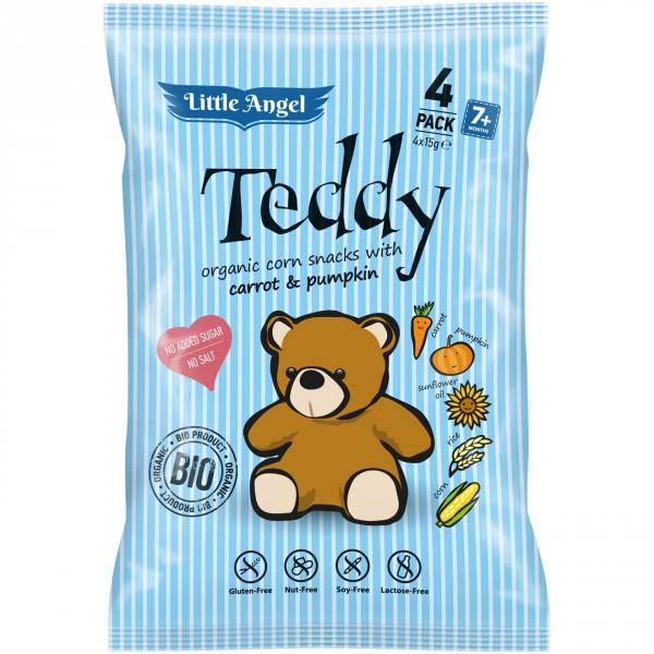 Little Angel Snack kukuřičný Teddy mrkev a dýně BIO 4x15g