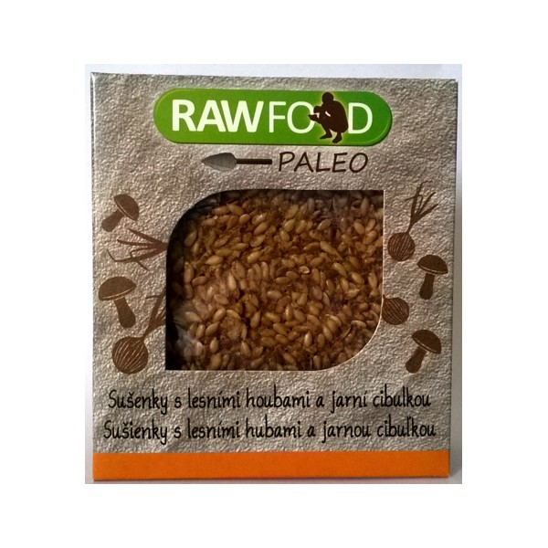 RAWFOOD Paleo sušenky s lesnimi houbami a jarní cibulkou 70g RawFood