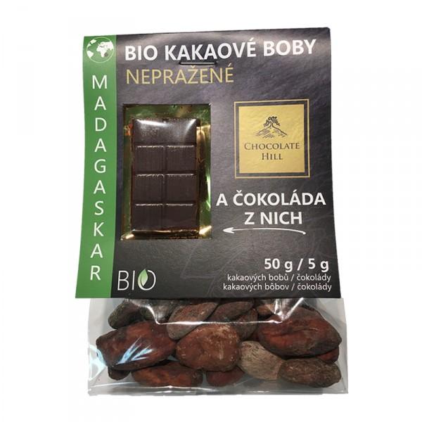Fotografie Kakaové boby nepražené + čokoláda (Madagaskar, BIO, Chocolate Hill) 55 g Chocolate Hill