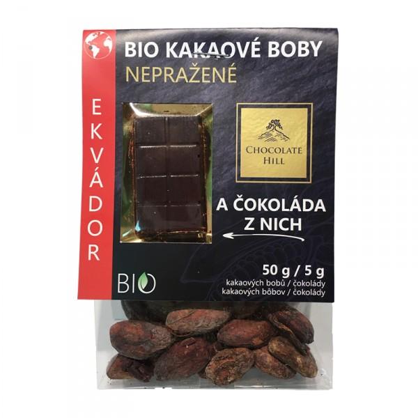 Fotografie Kakaové boby nepražené + čokoláda (Ekvádor, BIO, Chocolate Hill) 55 g Chocolate Hill