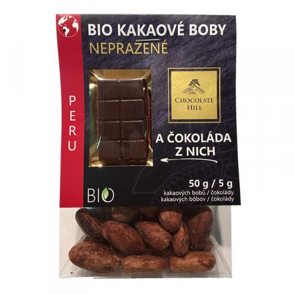 Fotografie Kakaové boby nepražené + čokoláda (Peru, BIO, Chocolate Hill) 55 g Chocolate Hill