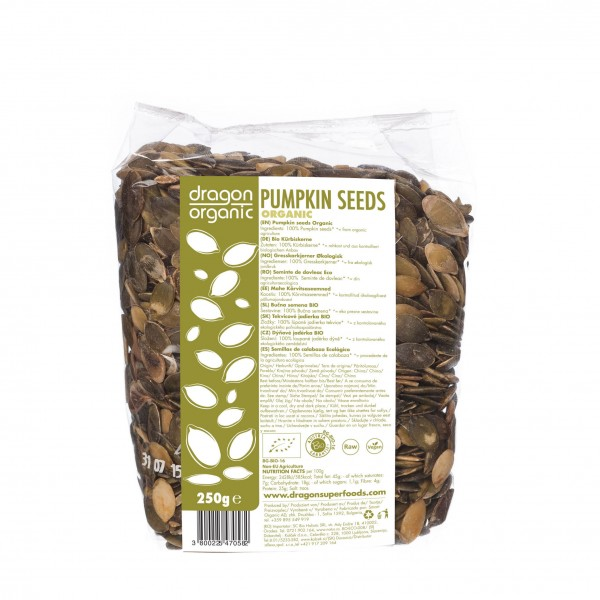 Dragon Superfoods dýňová semínka BIO RAW 250 g Dragon Superfoods