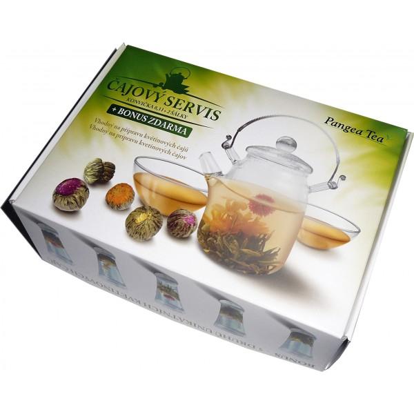 Pangea Tea dárková kazeta - konvice + 2 šálky + kvetoucí čaje 5 ks